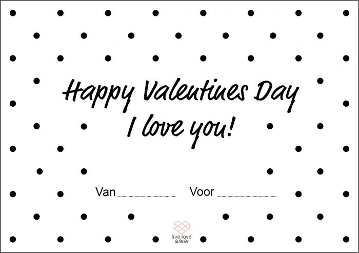 Boterhambriefje - Happy Valentines Day - Live love interior